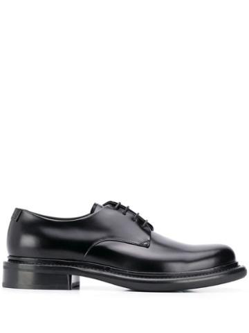Giorgio Armani Leather Oxford Shoes - Black