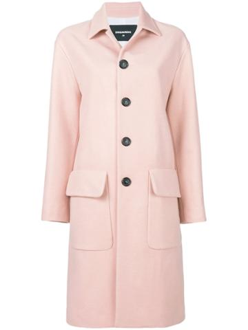 Dsquared2 Classic Wool Coat - Pink & Purple