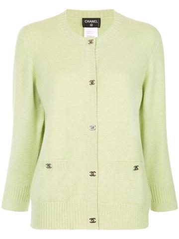 Chanel Vintage Logo Buttoned Up Knitted Top - Green