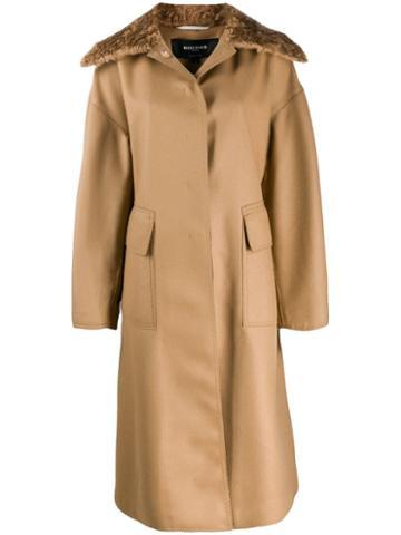 Rochas Shearling Collar Coat - Neutrals