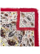Alexander Mcqueen Insects Scarf - White
