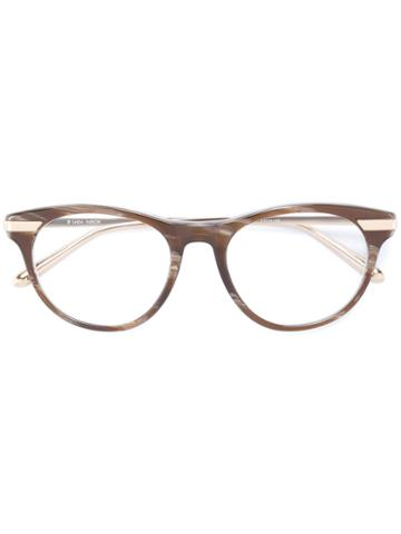 Linda Farrow Round Frame Glasses, Grey, Acetate/metal