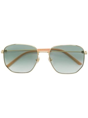Gucci Eyewear Rectangular-frame Metal Sunglasses - Gold
