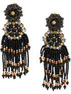 Etro Beaded Fringe Earrings - Black