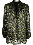 Alice+olivia Leopard Print Sheer Blouse - Black