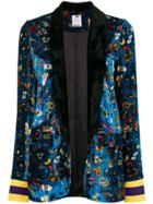 Ultràchic Floral Embroidered Blazer - Blue