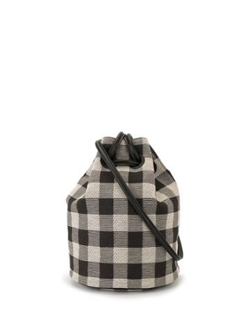Mansur Gavriel Drawstring Check-print Bucket Bag - Black