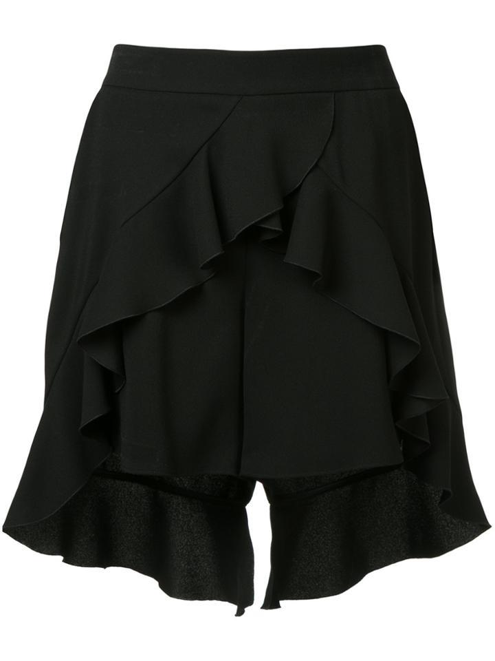 Goen.j Ruffled Slit Shorts - Black