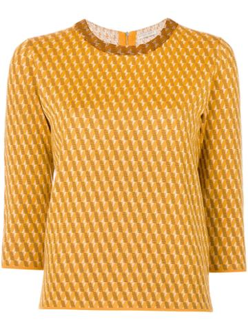 Outsource Images - Intarsia Knit Jumper - Women - Silk/wool - 42, Yellow/orange, Silk/wool