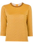 Outsource Images - Intarsia Knit Jumper - Women - Silk/wool - 42, Yellow/orange, Silk/wool