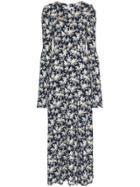 Les Reveries Floral Print Pouf Sleeve Front Slit Maxi Dress - Blue