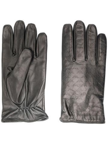 Emporio Armani Logo Embossed Gloves - Black
