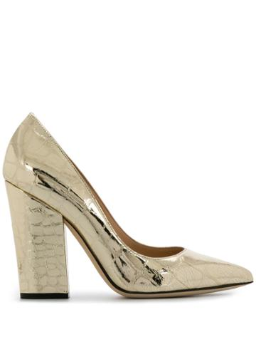 Sergio Rossi 105mm Embossed Croc Pumps - Gold