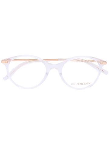 Boucheron - Oval Frame Glasses - Women - Acetate/metal - 50, White, Acetate/metal
