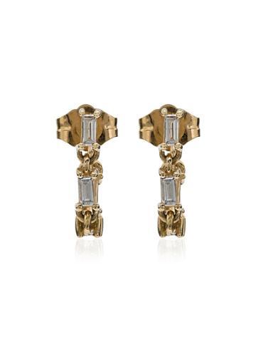 Lizzie Mandler Fine Jewelry Baguette Diamonds Huggie Earrings - Gold