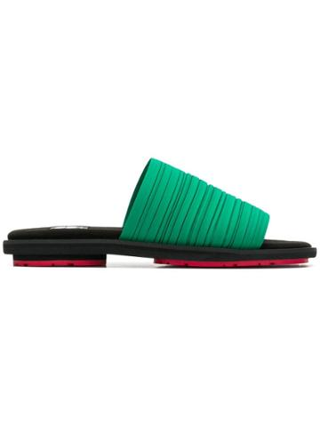 Pleats Please By Issey Miyake Layered Strings Sliders - Green