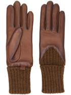 Agnelle Leather Knitted Gloves - Brown