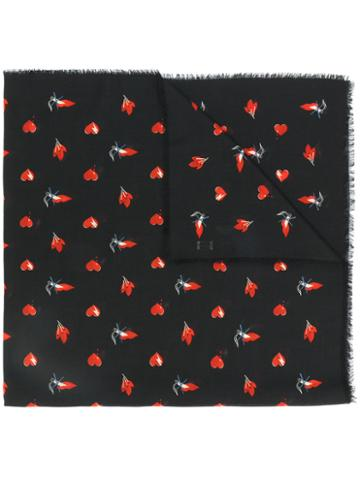 Saint Laurent - Red Heart, Lightning Bolt And Flame Print Scarf - Women - Cotton/wool - One Size, Black, Cotton/wool