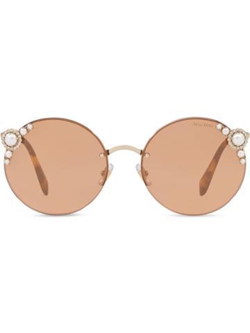 Miu Miu Miu Miu Manière Eyewear - Brown