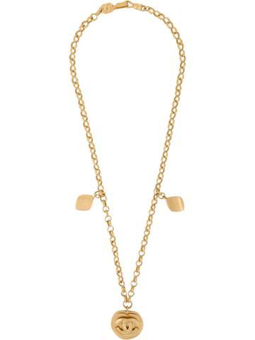 Chanel Vintage Logo Medallion Long Necklace - Metallic