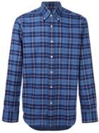 Canali Slim-fit Plaid Shirt - Blue