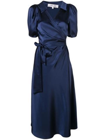 Dvf Diane Von Furstenberg Short-sleeve Wrap Midi Dress - Blue