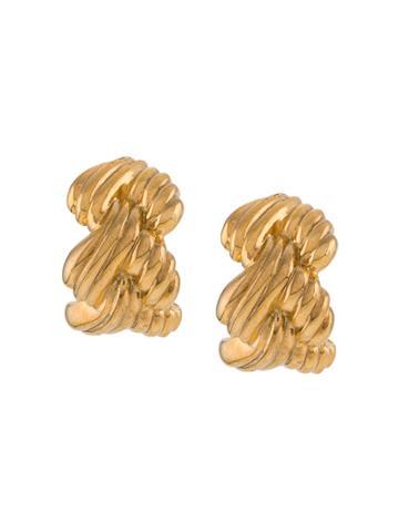 Nina Ricci Pre-owned 1980s Braided Earrings - Gold