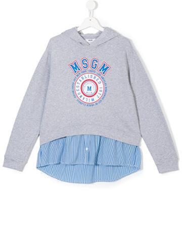 Msgm Kids Layered Effect Logo Hoodie - Grey