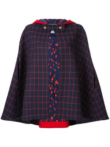 Macgraw Checked Cape Jacket - Blue