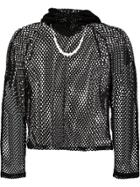 Blindness Embellished Fishnet Hooded Top - Black