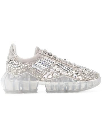 Jimmy Choo Crystal Shimmer Sneakers - Silver