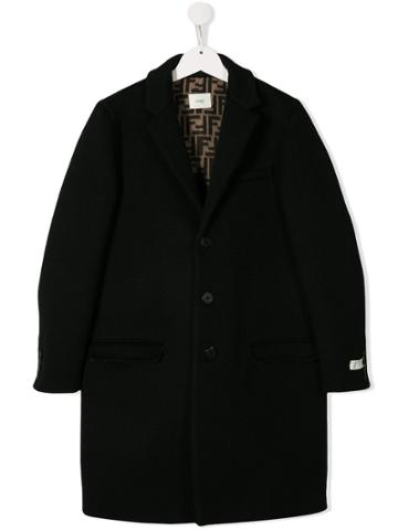 Fendi Kids Button-up Coat - Black