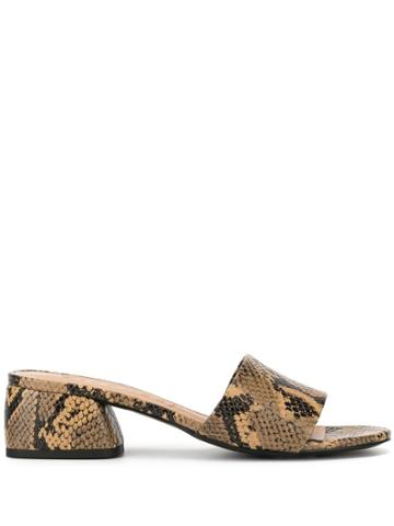 Vicenza Snakeskin-effect Mules - Brown