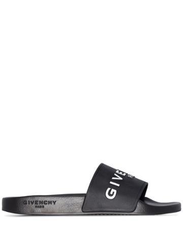 Givenchy Logo Print Slides - Black