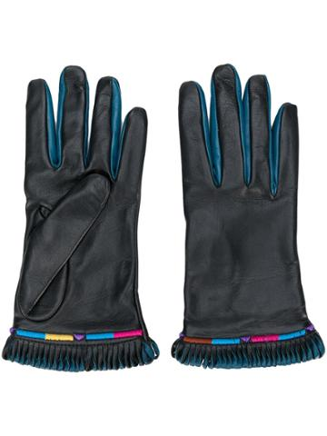 Etro Fringed Contrast Gloves - Black