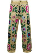 Gucci Cropped Embroidered Trousers - Metallic