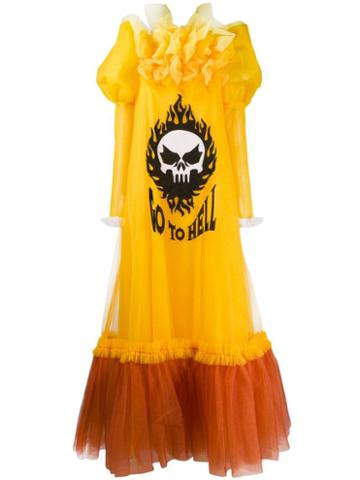 Viktor & Rolf Go To Hell Printed Tulle Gown - Yellow