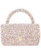 Chanel Vintage Quilted Cc Tweed Hand Bag, Women's, Pink/purple