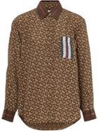 Burberry Monogram Stripe Print Silk Shirt - Brown