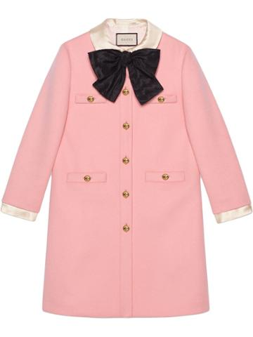 Gucci Wool Coat With Bow - Pink