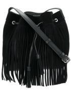 Lancaster Fringed Bucket Bag - Black