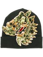 P.a.r.o.s.h. Sequin Embroidered Knitted Beanie - Green