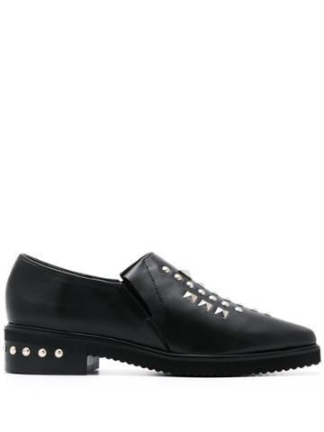 Zucca Pointed Stud-embellished Loafers - Black