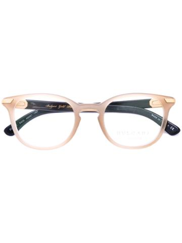 Bulgari - Oval Frame Glasses - Men - Acetate/buffalo Horn/metal - 48, Nude/neutrals, Acetate/buffalo Horn/metal