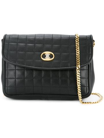 Céline Vintage Macadam Plate Shoulder Bag - Black