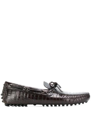 Car Shoe Croc-effect Driving Shoes - Brown