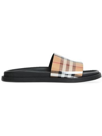 Burberry Vintage Check And Leather Slides - Neutrals