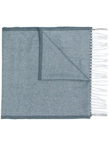 Corneliani Fringed Scarf - Blue