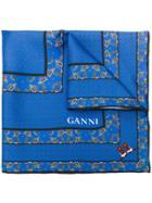 Ganni Patterned Scarf - Blue