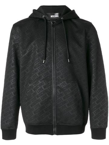 Love Moschino - Branded Hooded Zip-up Jacket - Men - Polyester/cotton/spandex/elastane - M, Black, Polyester/cotton/spandex/elastane